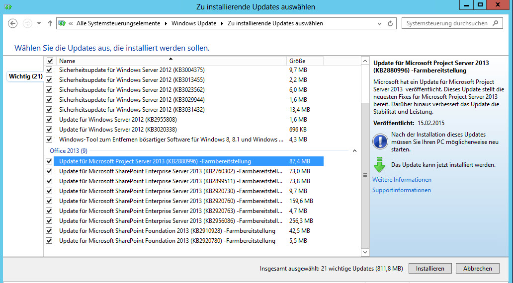 Project Server Updates über Windows Updates